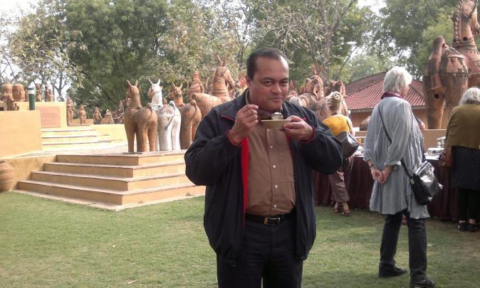 Joygopal Podder performing like a tourist