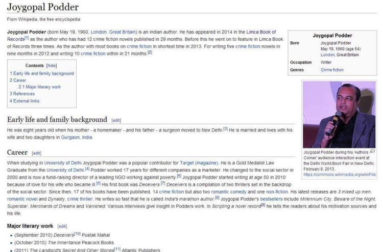 Wikipedia Bio Joygopal Podder