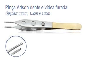 Pinça Adson Dente e Vídea Furada 12cm -Harte