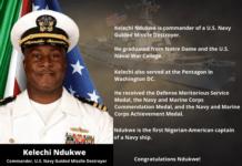 Historic! Kelechi Ndukwe Named First Nigerian To Captain U.S. Navy Ship