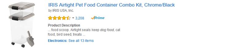 Plastic Pet Food Storage