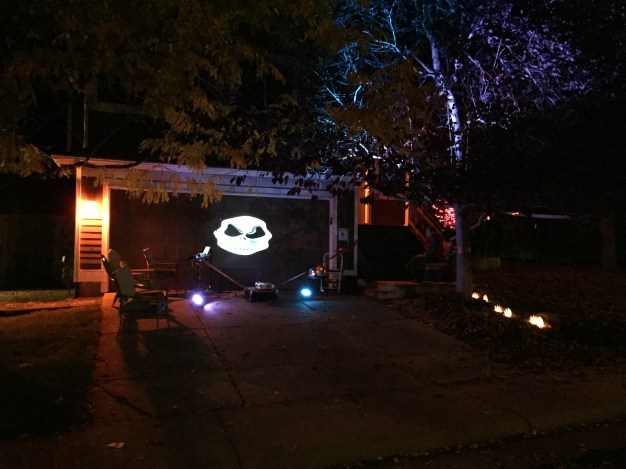 Spooky Cam projecting a JPG on a garage door