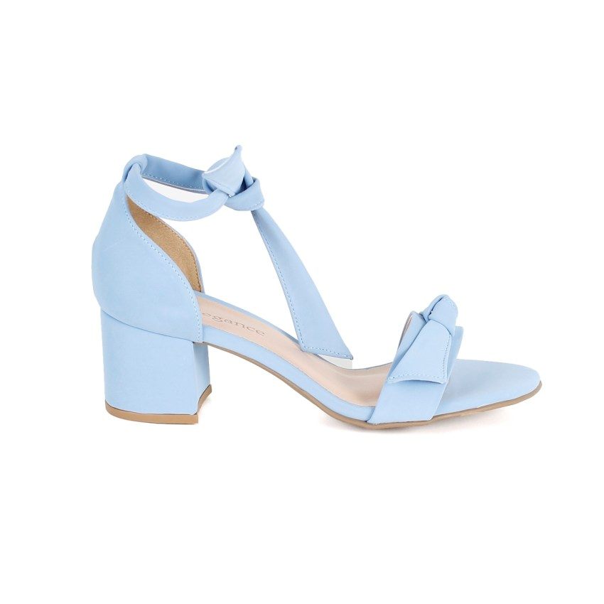 20916edac Sandália Azul Bebê Salto Baixo com Nó - New Elegance