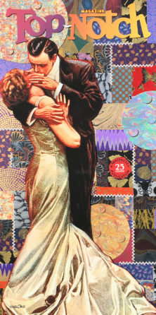 """Fantastic 1940s vintage pulp fiction image with great composition of handmade paper-an updated Gustav Klimt's """"The Kiss."""""""