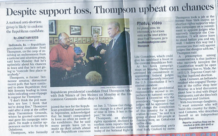 "managed to get onto the front page of the Des Moines Register reporting on Fred Thompson in Indianola, Iowa. That day he mentioned the classic Barry Goldwater book ""Conscience of a Conservative"" which is a brilliant read."