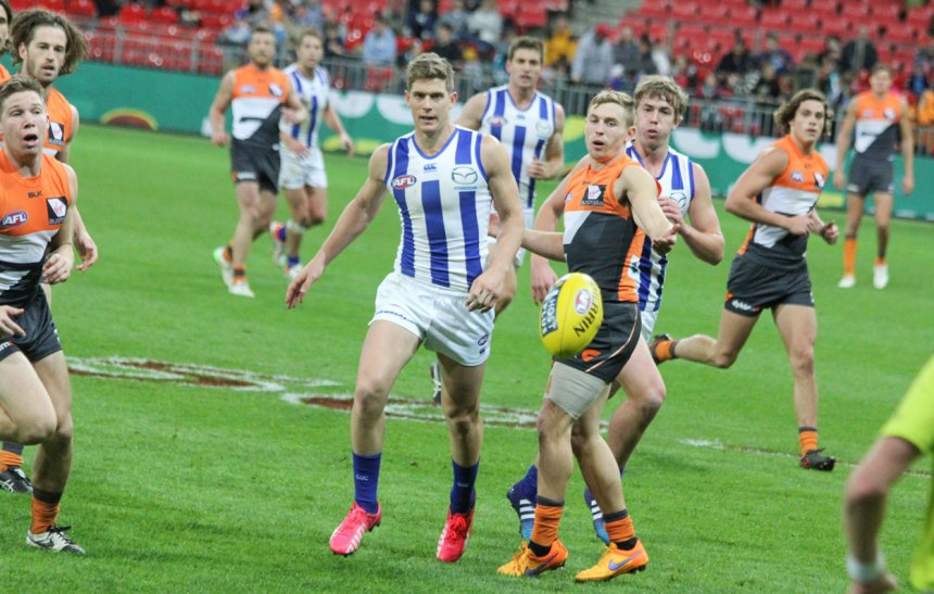 Nick Dal Santo (close, left of ball) was the Kangas best with 34 disposals