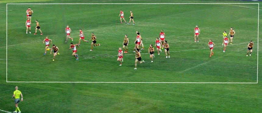 Whilst late in the game this is what Hawthorn did yo the Swans when attacking. They constricted the forward zone, found a way through the congestion and goaled. When the Swans cleared it was sent straight back to the web of the Hawks defense