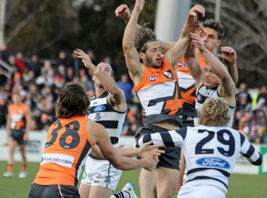 All up, action from the GWS Giants v Geelong game played in Canberra