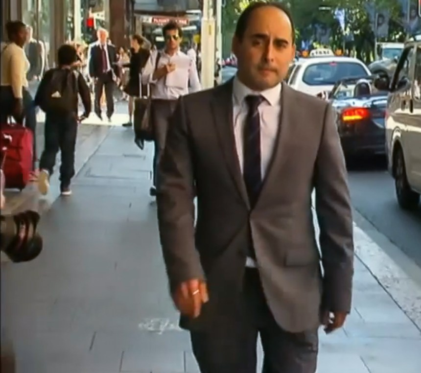 Paolo Vassallo leaving the Lindt Cafe Siege Inquest on Friday April 1, 2016 Photo credit: Channel 9 TV screen grab