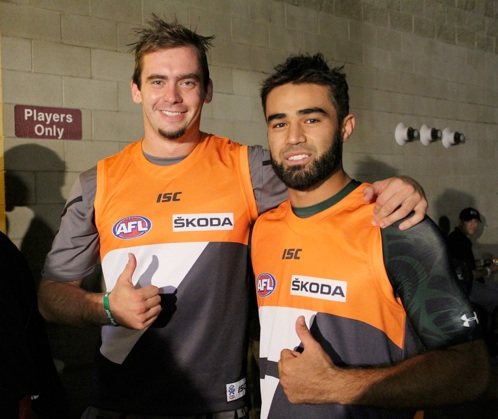 Former Warriors Alex Dunnachie (left) and Scott Harding in Fresno 2012, looking great in GWS Giants jerseys. Photo: Jodie Newell