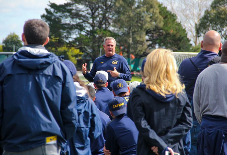 Cal bears Head Coach Sonny Dykes address the Bears squad after training in Sydney. Photo: Jodie Newell