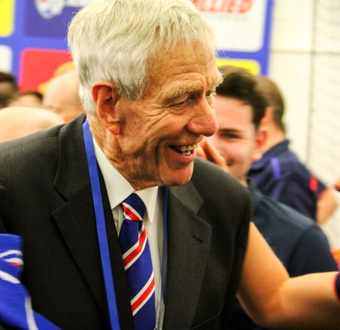Western Bulldogs club stalwart & spiritual leader John Schultz was right amongst it on Saturday. Photo: Jodie Newell