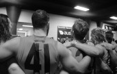 Inside the Giants sheds after a win. Photo: Jodie Newell