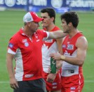 Stevie J was quick to slot into his new coaching role at the Sydney Swans over the weekend. Photo: Jodie Newell