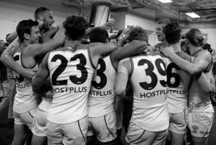 Joyous scenes in the Suns sheds. Photo: Jodie Newell