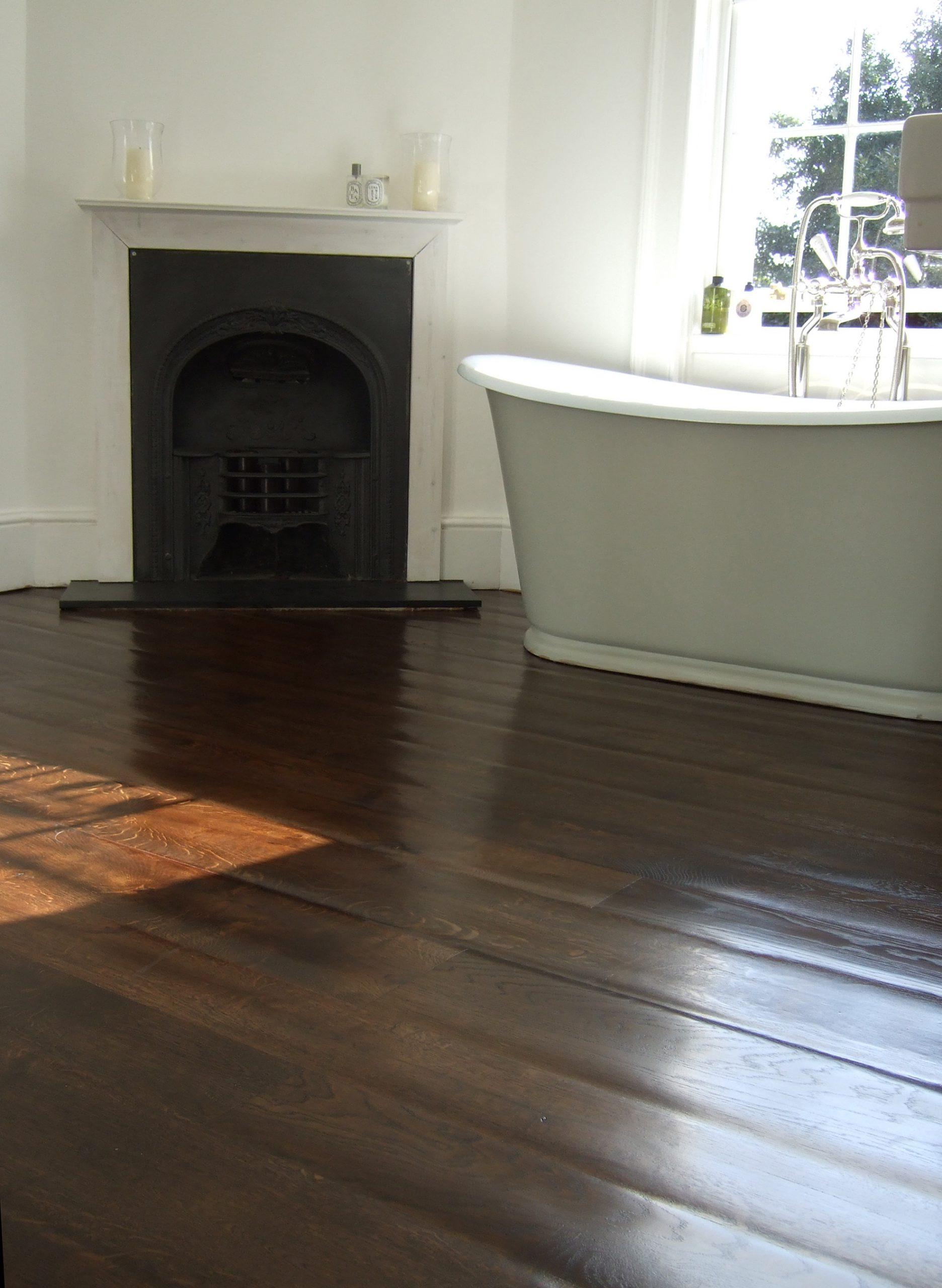 Hand scraped and sanded mid brown oak floor