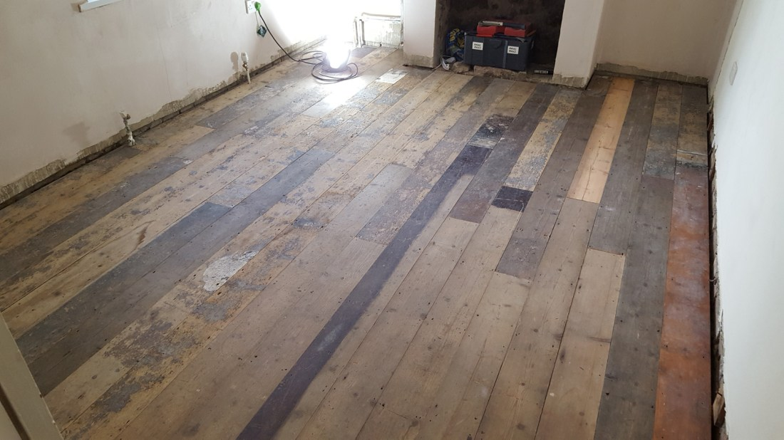 reclaimed pine floor fitted