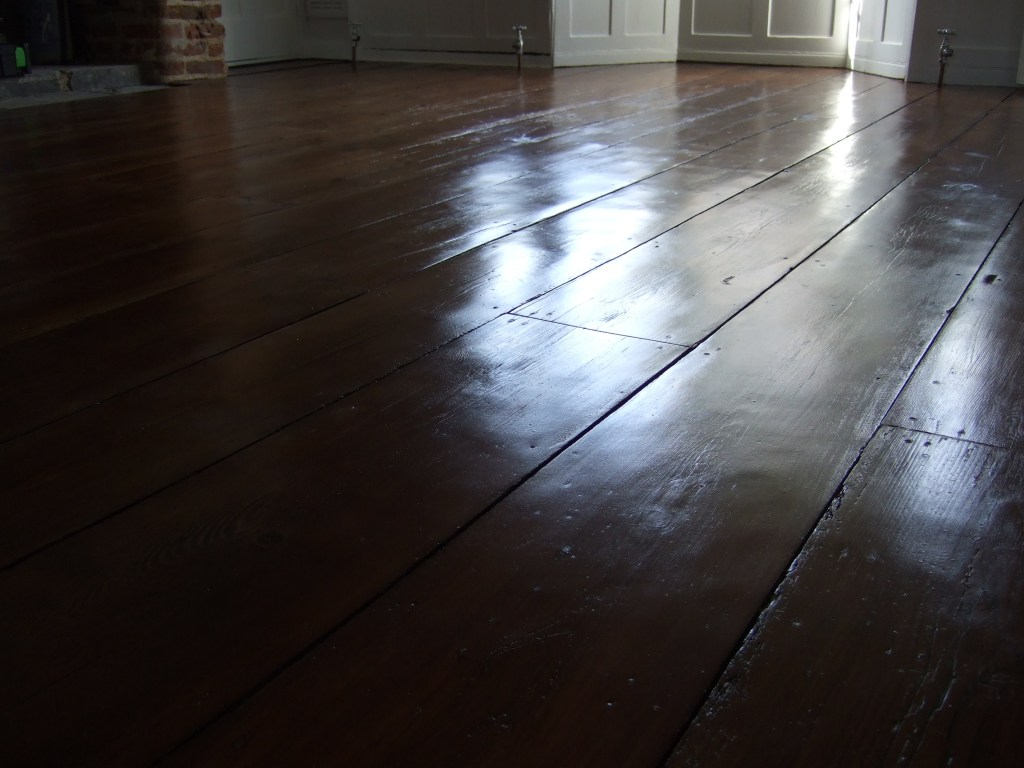sanded and stained 200 year old floor