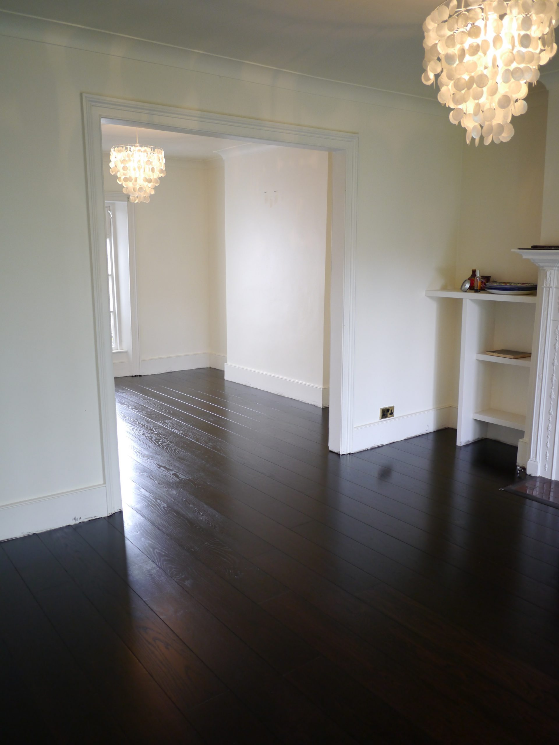 Beautiful dark oak stained engieered floor fitted stained and finished