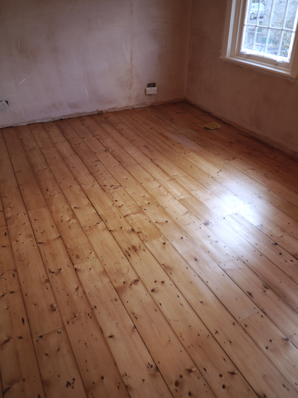 Stunning reclaimed Victorian pine floor boards fitted sanded and finished