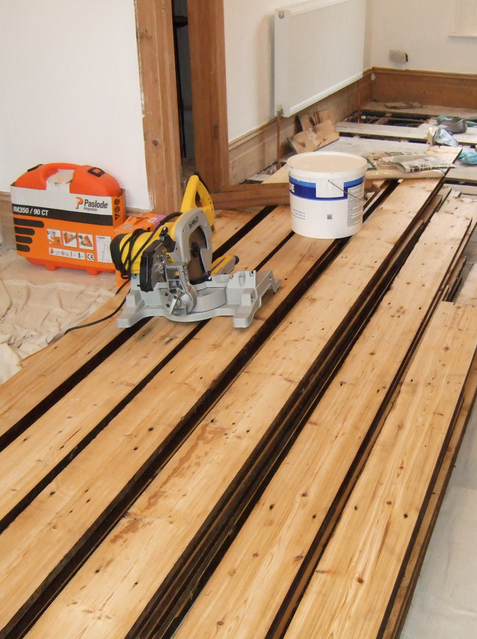 Amazing yellow pine reclaimed floor boards from Lancashire mill