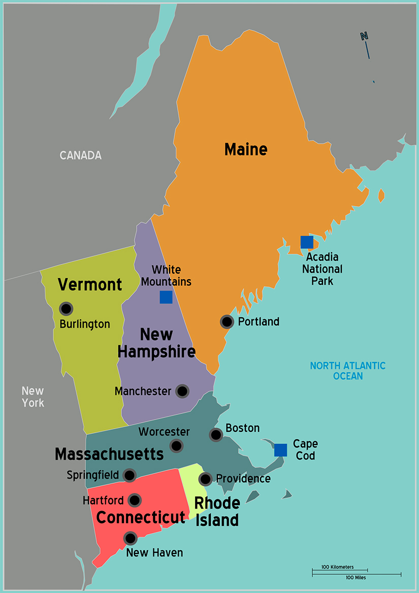 Map Northeast Coast United States