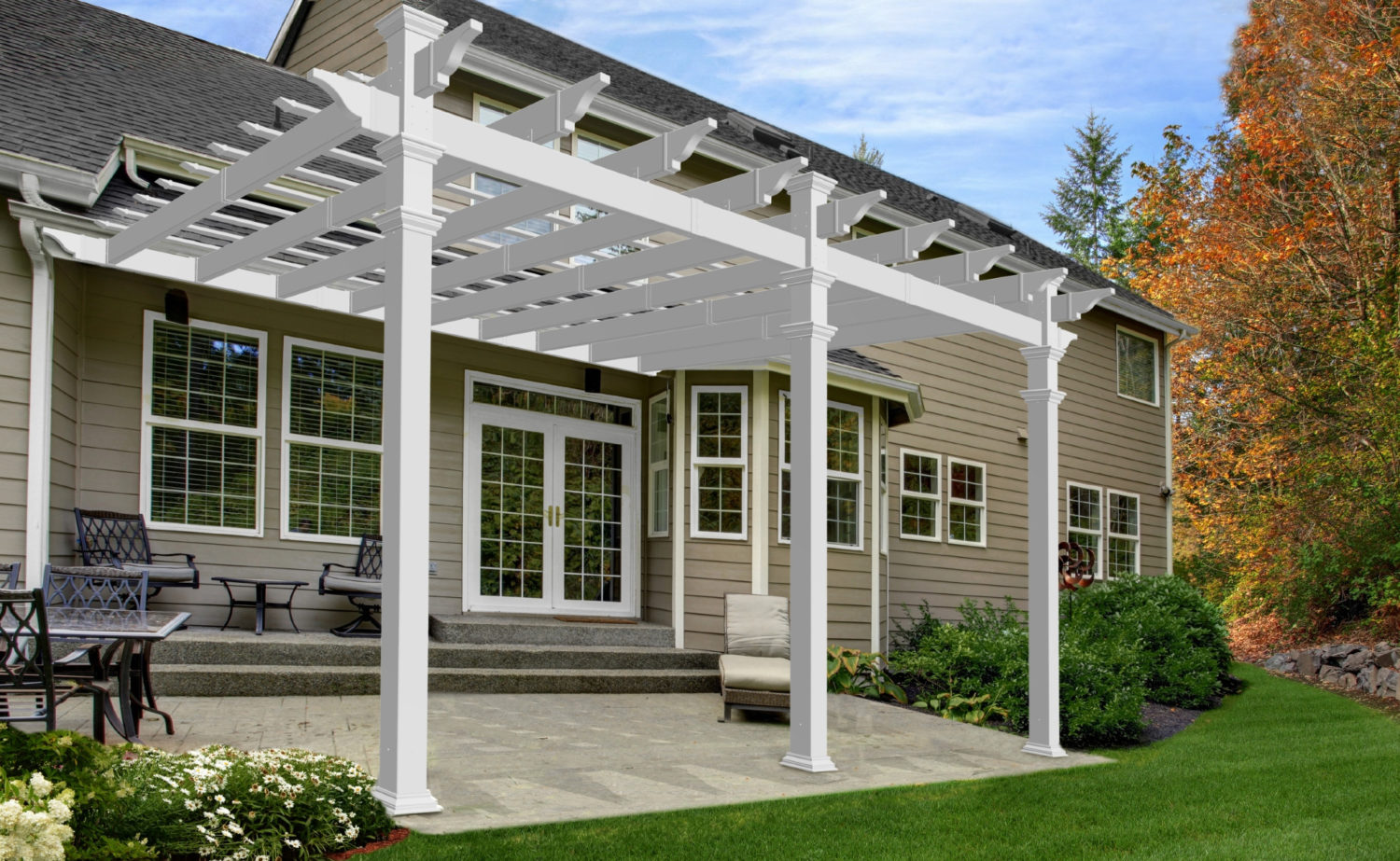 12 X 16 Valencia Attached Vinyl Pergola New England Arbors
