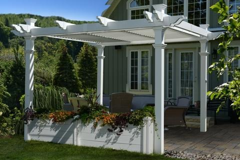 White Vinyl Pergola Planter New England Arbors