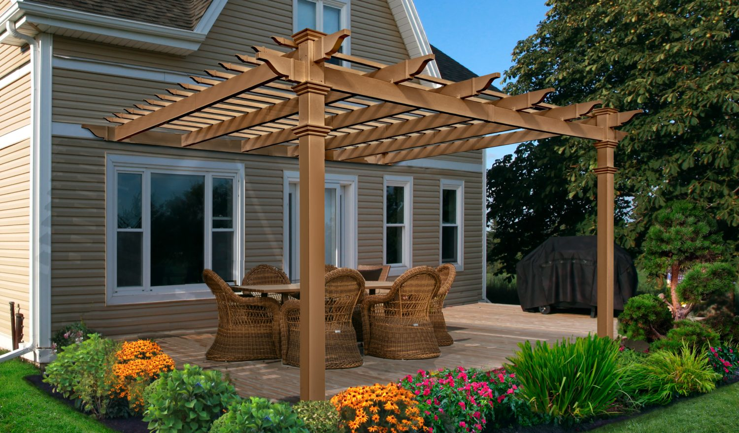 12 X 12 Kennedy Wood Vinyl Pergola New England Arbors