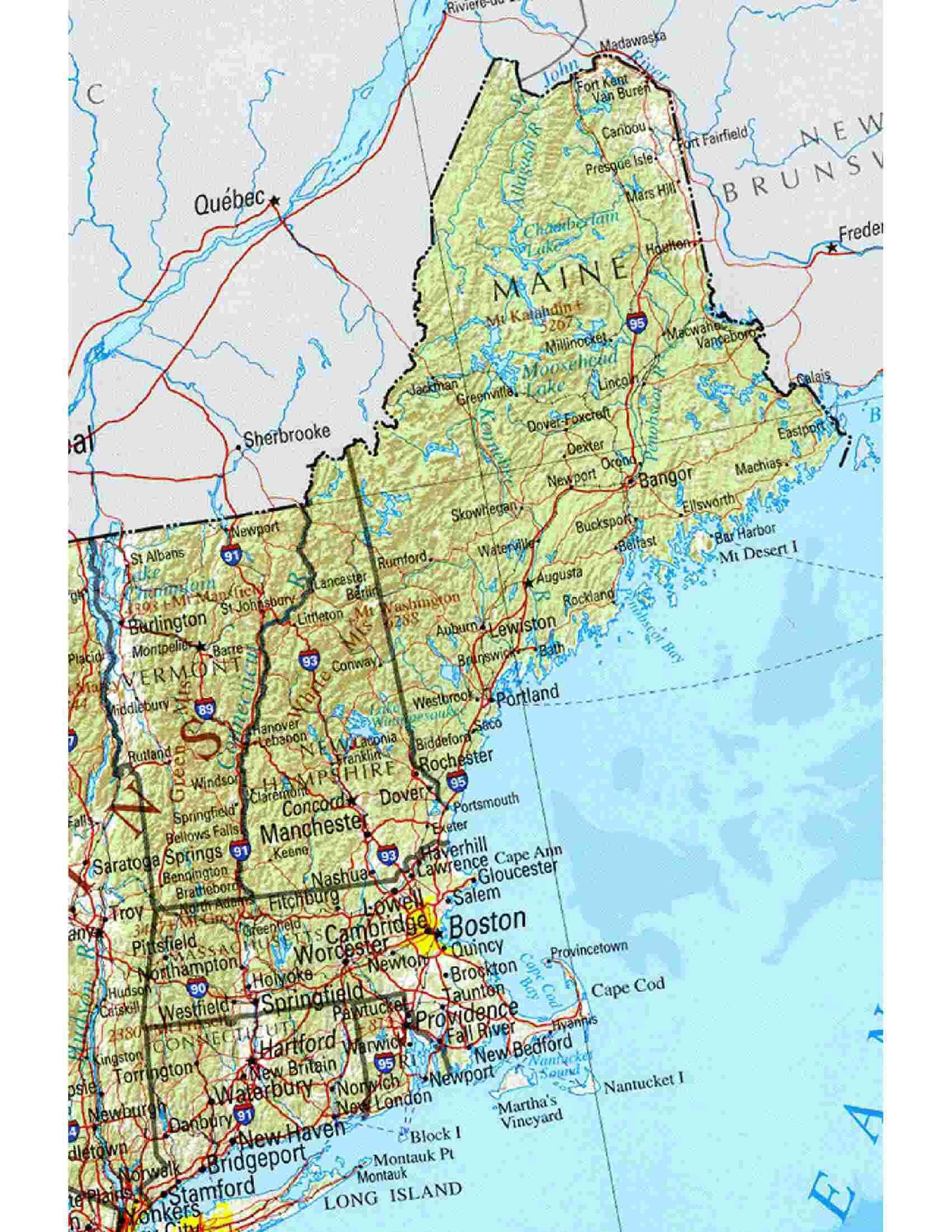 Map New England Usa States