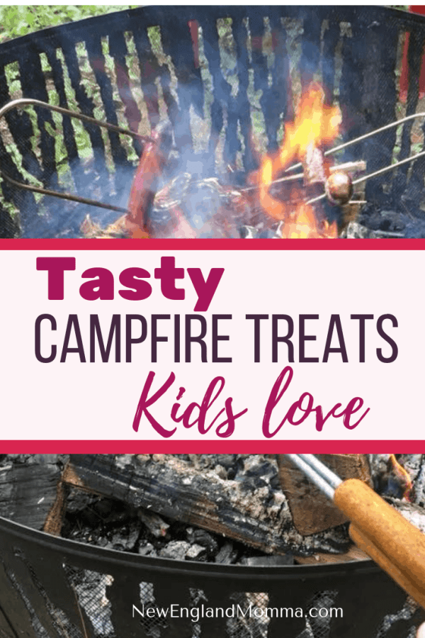 Tasty Campfire Treats Your Kids Will Love | Hot dogs to pizza pockets, pie iron sandwiches and s'mores; there are so many tasty campfire treats your kids will enjoy when you go camping.  #CampfireTreats #Smores #TastyTreats #Hotdogsonastick #Camping #CampCooking #CampingwithKids