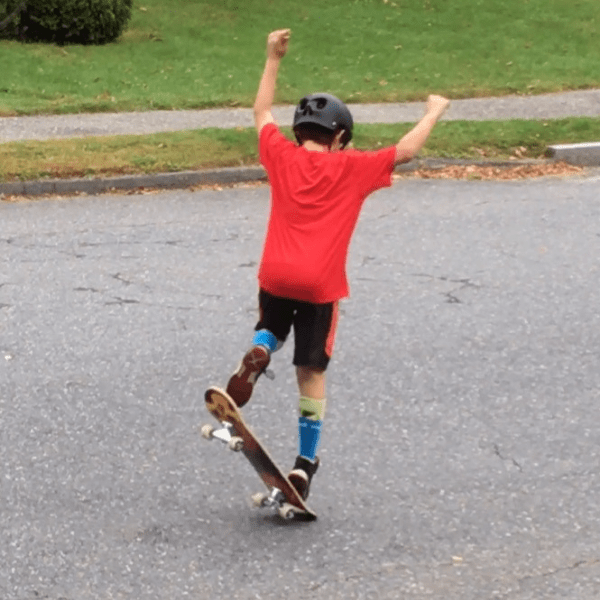 a 12 year old boy on his skate board