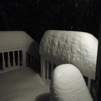 New Hampshire Snow - My House at 11:30 PM October 29th