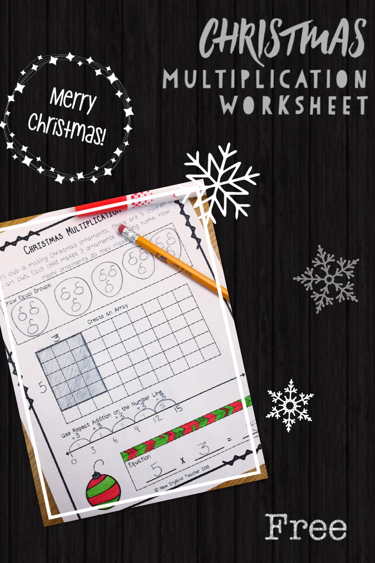 Free Christmas Multiplication Worksheet New England Teacher