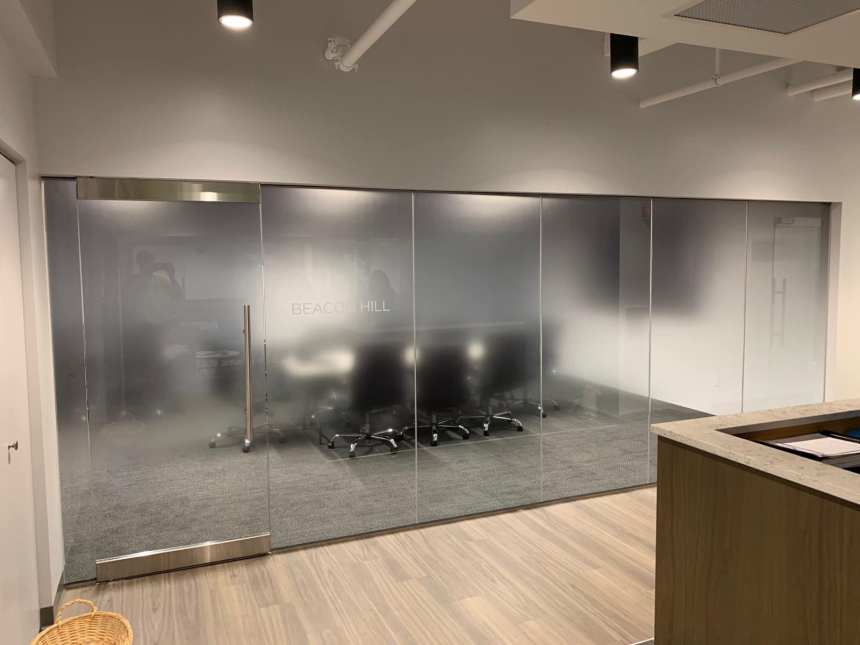 Added Conference Room Privacy for Boston Firm Using Decorative Glass Films - Decorative Glass Film in the Boston, Massachusetts area