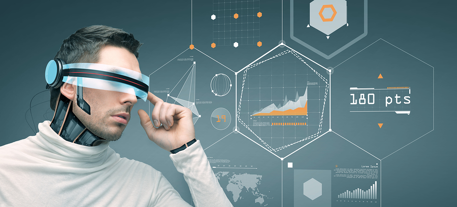 people, technology, future and progress - man with futuristic 3d