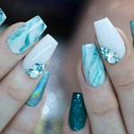 Short Blue Marble Acrylic Nails Nail And Manicure Trends