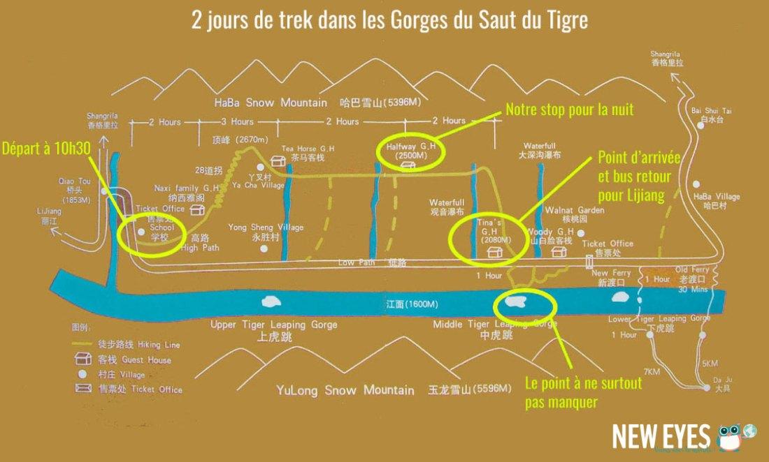 plan du parcours des gorges