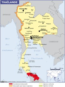 carte des zones à risques en Thaïlande et Malaisie