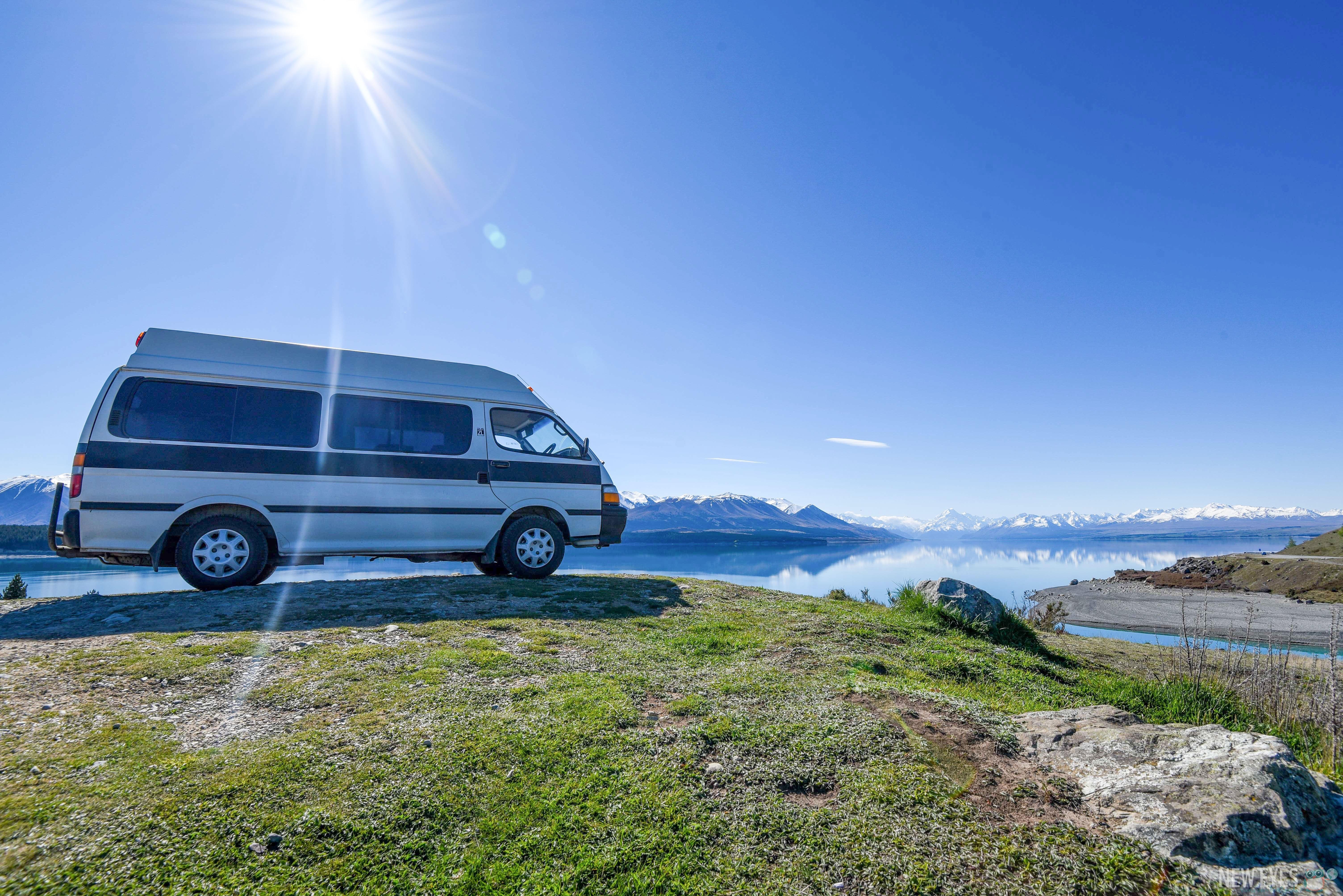 Notre van au lake Pukaki