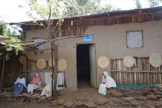Awra Amba's nursing home, with the residents sitting out the front.