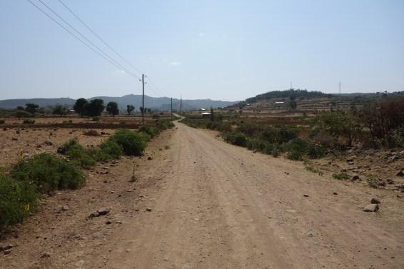 The winding dirt track to Awra Amba.