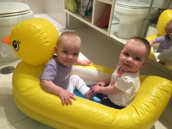 Naomi & Norah in their ducky bath tub