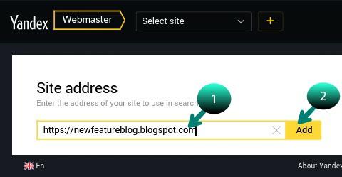 Apna blog ka URL likh kar add par click kare