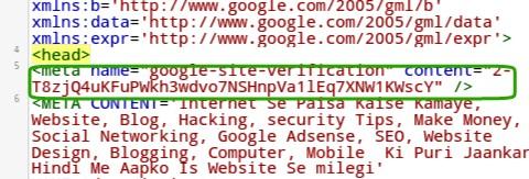 paste google search console meta code below <head>