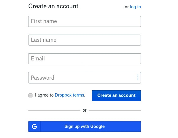 fill your dropbox account details