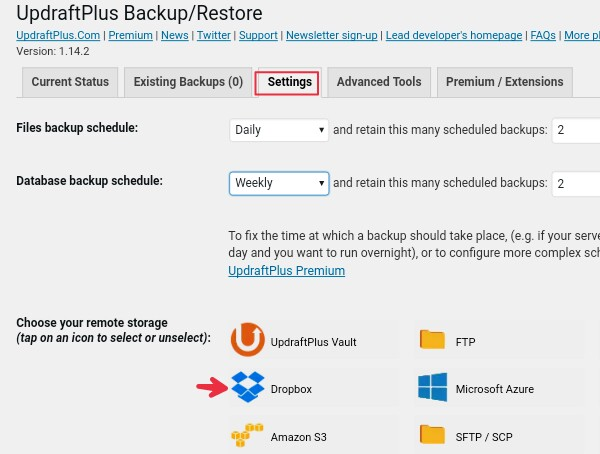 schedule wp files database backup and select dropbox