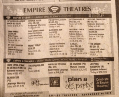 In 90s Newfoundland, you could check the paper or call in to get movie listings. Empire Theatres has a website, but the paper was still common to use.