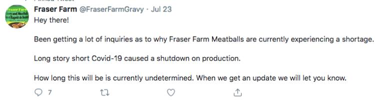 Fraser Farm Meatballs response