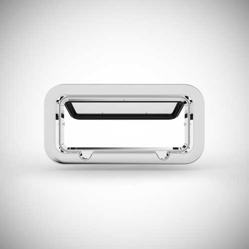 image of what a rectangular stainless steel portlight ooks like from the outside